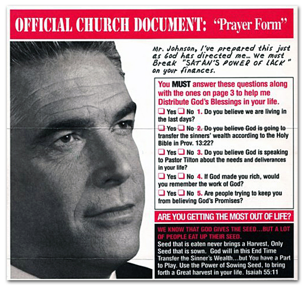 Reverend Bob Tilton Prayer Form